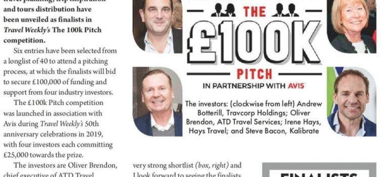 We were selected as finalists in Travel Weekly's £100k pitch!